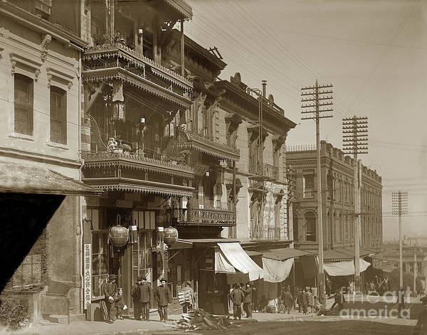 Photograph - Chinatown - Clay Street Toward Dupont Street Chainatown San Francisco 1900 by California Views Archives Mr Pat Hathaway Archives