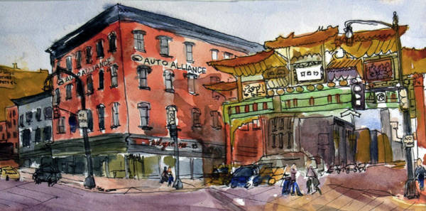 Washington D.c Painting - Chinatown In Dc by Elissa Poma