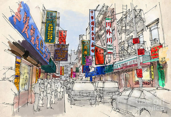 Wall Art - Painting - Chinatown, Manhattan Sketch, Colorful Handmade Drawing Of New York by Drawspots Illustrations