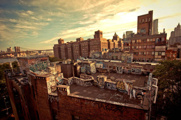 Roof Top Photograph - Chinatown Rooftop Graffiti And The Brooklyn Bridge - New York City by Vivienne Gucwa