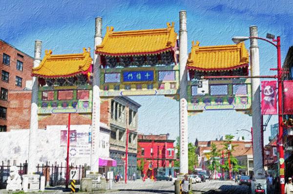 Vancouver Digital Art - Chinatown's Millenium Gate Digital Wc by Bob Corson