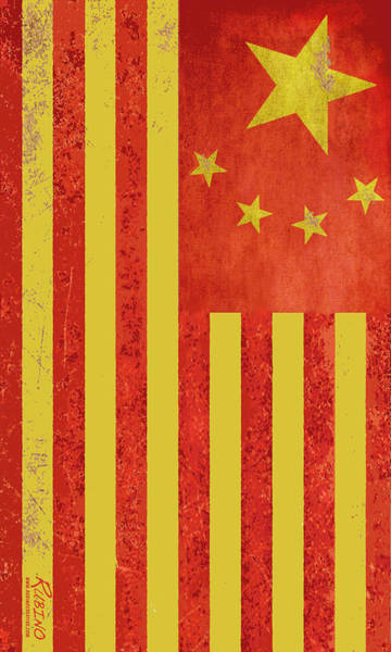 Painting - Chinese American Flag Vertical by Tony Rubino