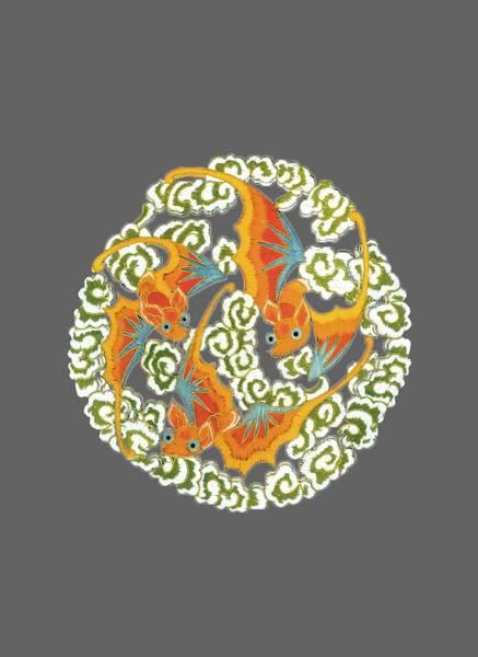 Digital Art - Chinese Bats Tee Shirt Design by Bellesouth Studio