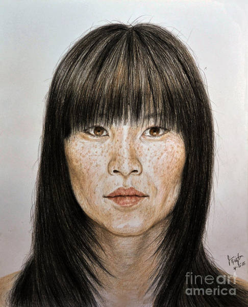 Freckle Drawing - Chinese Beauty With Bangs by jim Fitzpatrick