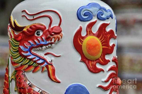 Photograph - Chinese Dragon Breathes Fire On Ceramic Art At Temple Hat Yai Thailand by Imran Ahmed