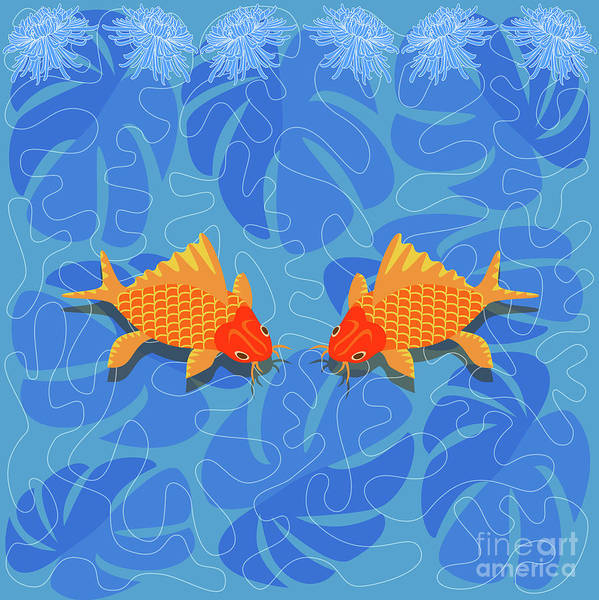 Wall Art - Digital Art - Chinese Fish by Claire Huntley