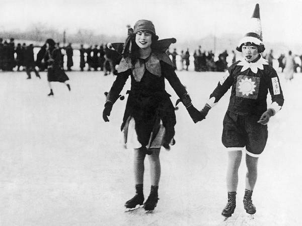 Wall Art - Photograph - Chinese Flapper Girls Skating by Underwood Archives