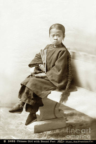 Photograph - Chinese Girl With Bound Feet Circa 1880 by California Views Archives Mr Pat Hathaway Archives