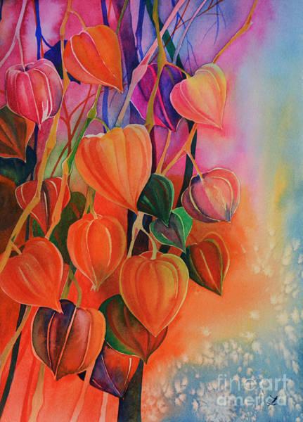 Husk Painting - Chinese Lanterns by Zaira Dzhaubaeva