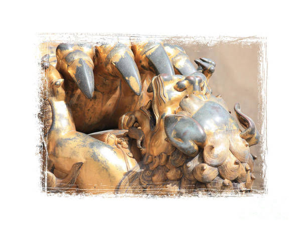 Photograph - Chinese Lion Cub Statue With Framing by Carol Groenen