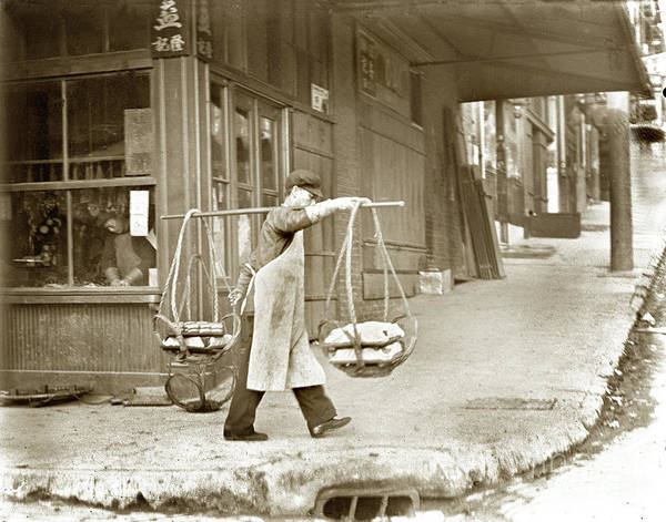 Photograph - Chinese Man Carrying Produce In Baskets Balanced On Pole Over Shoulder In San Francisco  by California Views Archives Mr Pat Hathaway Archives