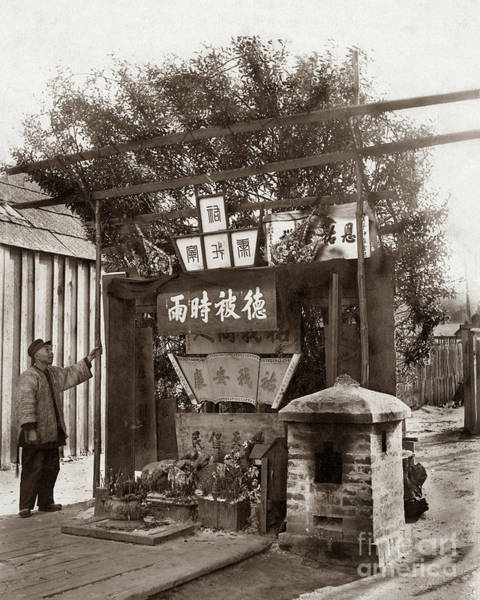 Photograph - Chinese Man Looking At Joss House, Temple Altar At Chinese Villa by California Views Archives Mr Pat Hathaway Archives