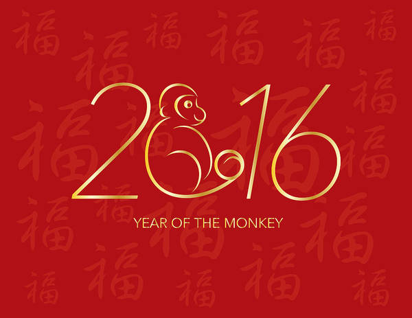 Chinese New Year Photograph - Chinese New Year 2016 Monkey On Red Background Illustration by Jit Lim