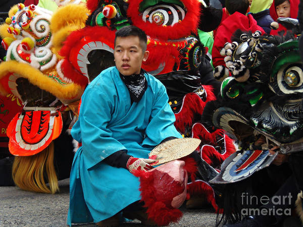 Photograph - Chinese New Year Lion Dancers, Chinatown, Boston, Massachusetts, 2016 by Lita Kelley