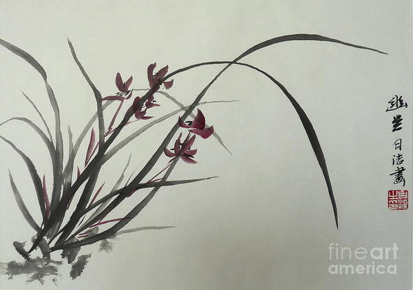 Master Piece Painting - Chinese Orchid by Birgit Moldenhauer