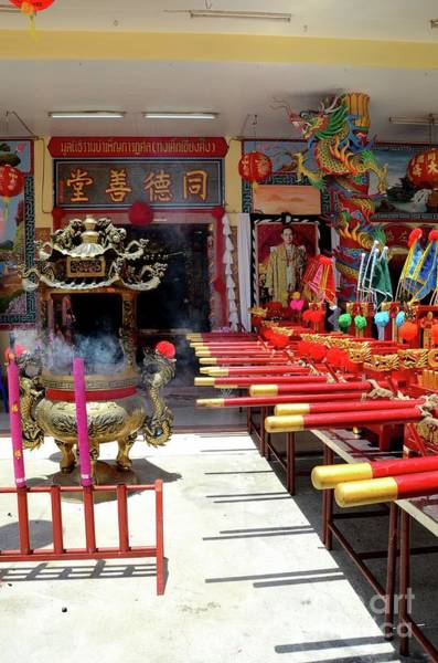Photograph - Chinese Temple Door Flags Joss Urn And King Portrait Pattani Thailand by Imran Ahmed