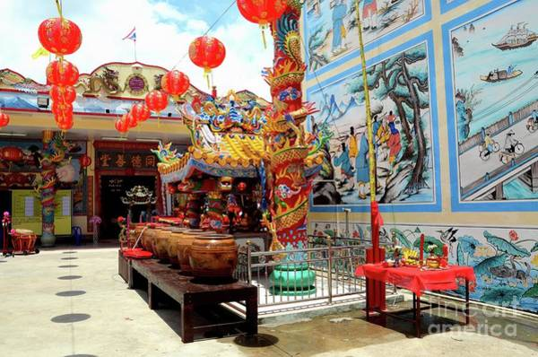 Photograph - Chinese Temple With Urns Art And Red Lanterns And Thai Flag Pattani Thailand by Imran Ahmed