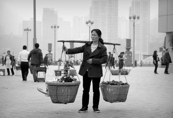 Wall Art - Photograph - Chinese Woman Carrying Baskets by Valentino Visentini