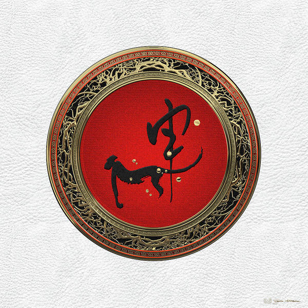 Digital Art - Chinese Zodiac - Year Of The Monkey On White Leather by Serge Averbukh