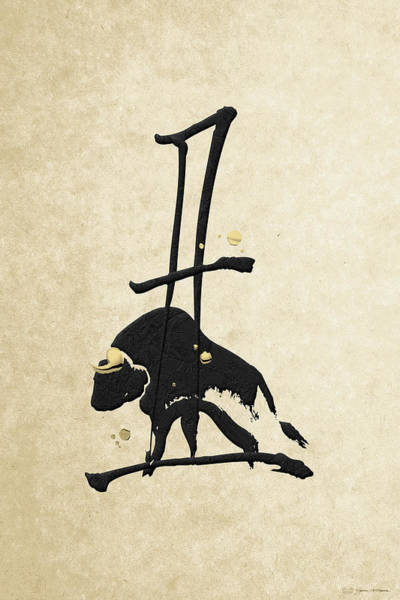 Digital Art - Chinese Zodiac - Year Of The Ox On Rice Paper by Serge Averbukh