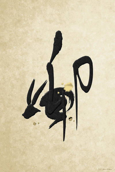 Digital Art - Chinese Zodiac - Year Of The Rabbit On Rice Paper by Serge Averbukh