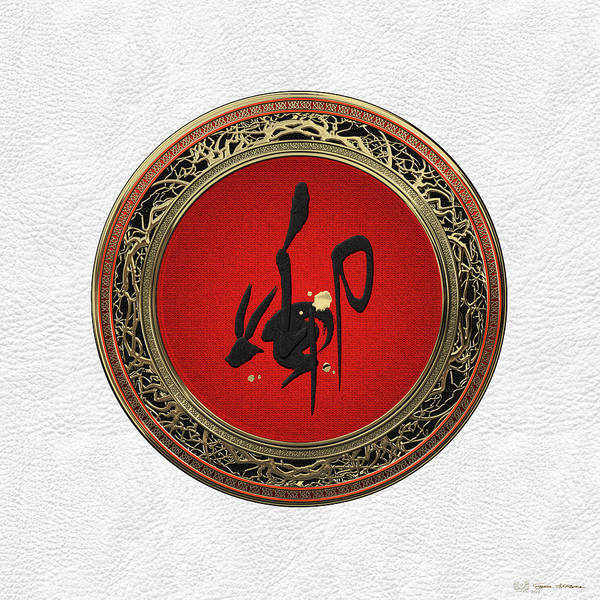 Digital Art - Chinese Zodiac - Year Of The Rabbit On White Leather by Serge Averbukh