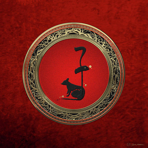 Digital Art - Chinese Zodiac - Year Of The Rat On Red Velvet by Serge Averbukh