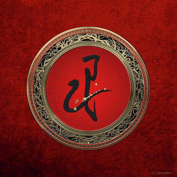 Digital Art - Chinese Zodiac - Year Of The Snake On Red Velvet by Serge Averbukh