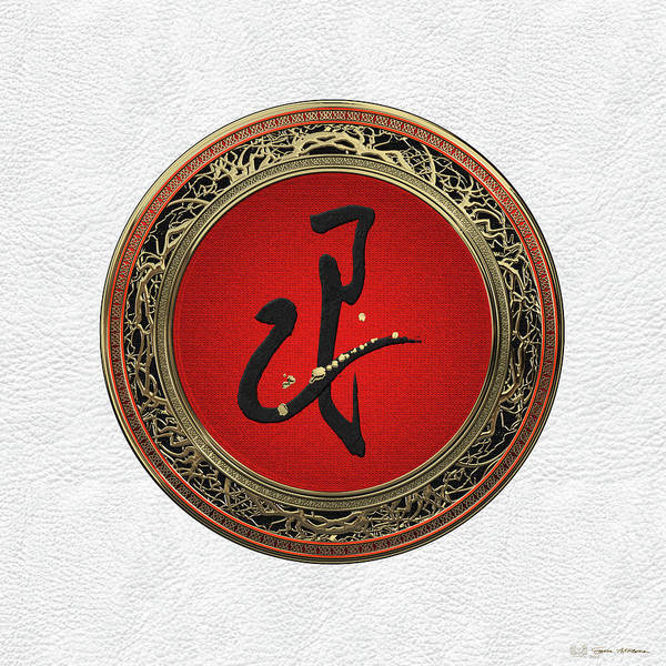 Digital Art - Chinese Zodiac - Year Of The Snake On White Leather by Serge Averbukh