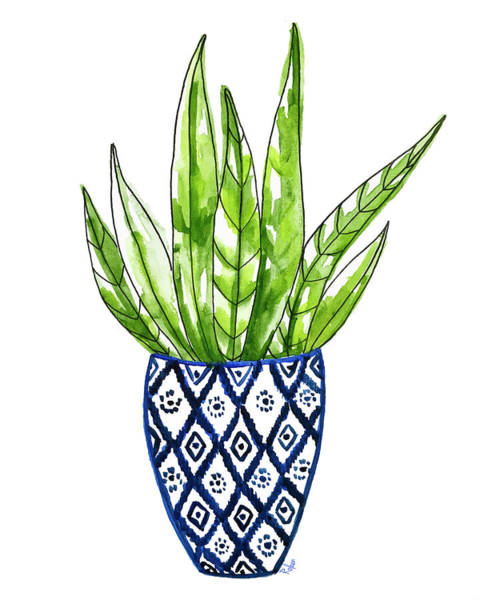 Succulent Wall Art - Painting - Chinoiserie Cactus No2 by Roleen Senic