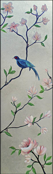 Peach Flower Wall Art - Painting - Chinoiserie - Magnolias And Birds #4 by Shadia Derbyshire