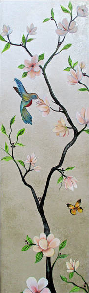 Peach Flower Wall Art - Painting - Chinoiserie - Magnolias And Birds #5 by Shadia Derbyshire