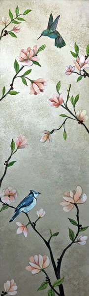Peach Flower Wall Art - Painting - Chinoiserie - Magnolias And Birds by Shadia Derbyshire