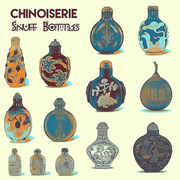 Rungs Wall Art - Painting - Chinoiserie Snuff Bottles Art by Celestial Images