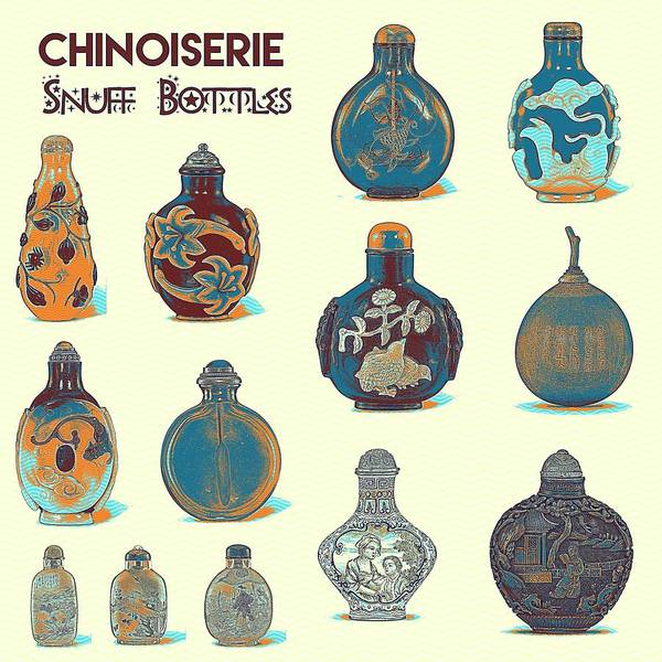 Rungs Wall Art - Painting - Chinoiserie Snuff Bottles Poster by Celestial Images