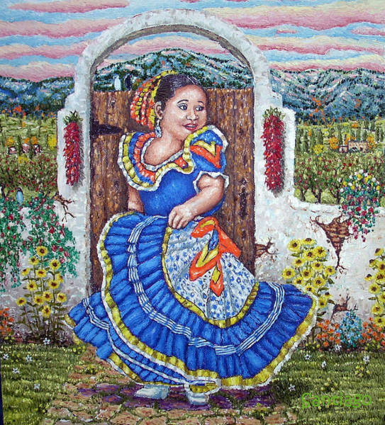 Painting - Chiquita Azul  Blue Girl by Santiago Chavez