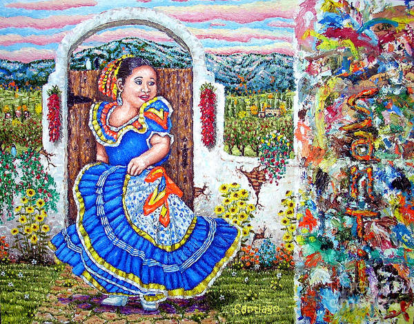 Painting - Chiquita Azul  Blue Girl With Palette by Santiago Chavez