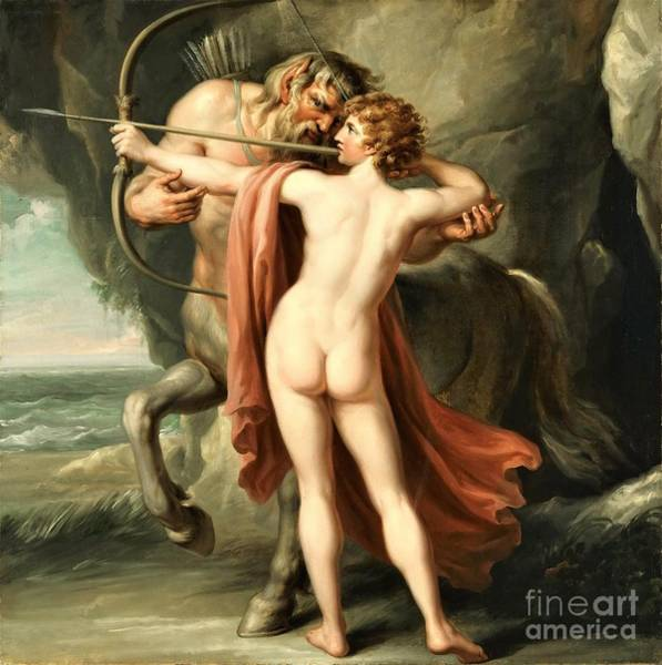 Wall Art - Painting - Chiron Instructing Achilles by Pg Reproductions