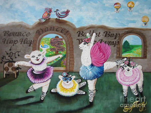 Painting - Chloe The Flying Lamb  Productions          - Lets Dance - Ballet School  by Sigrid Tune