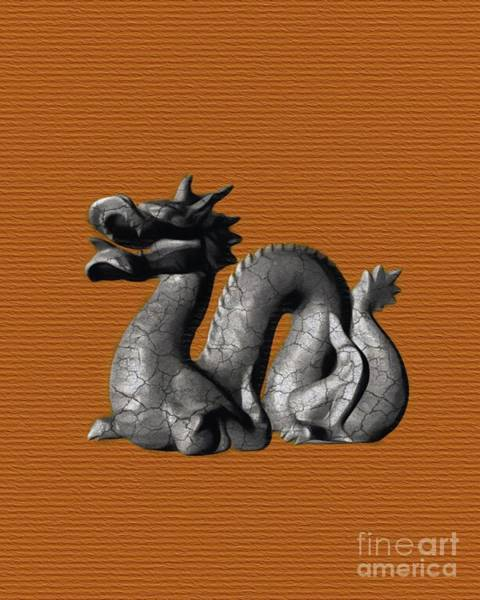 Wall Art - Painting - Chnese Dragon On Orange by Pierre Blanchard