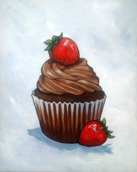 Wall Art - Painting - Chocolate Cupcake With Strawberries by Joyce Geleynse