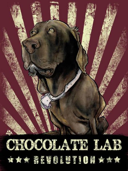 Drawing - Chocolate Lab Revolution by John LaFree