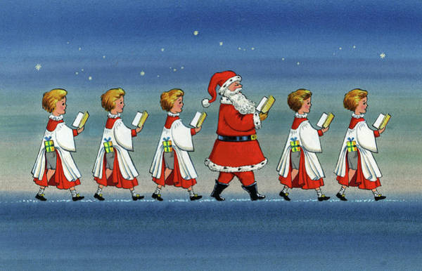 Choral Wall Art - Painting - Choirboys And Santa by Stanley Cooke