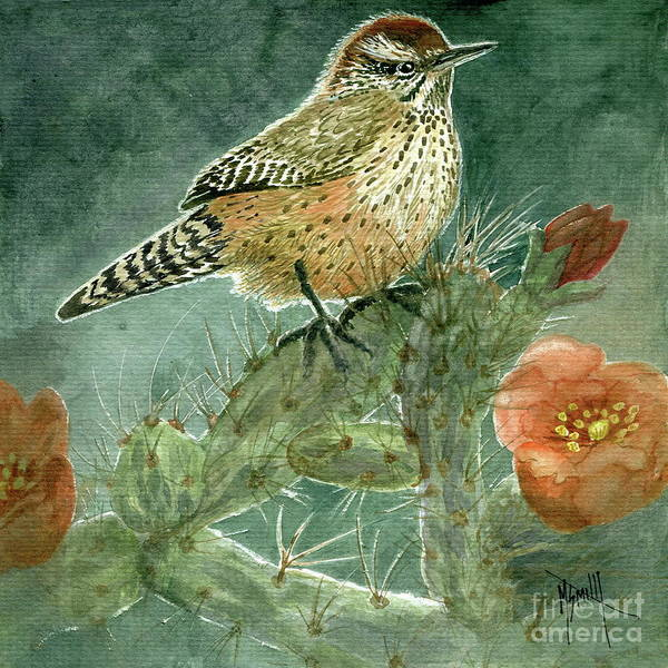 Painting - Cholla Cactus Wren by Marilyn Smith