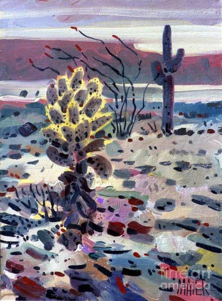 Ocotillo Wall Art - Painting - Cholla Saguargo And Ocotillo by Donald Maier