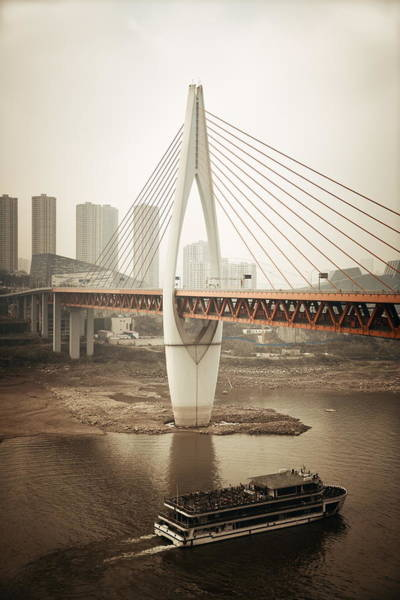 Photograph - Chongqing Bridge Boat by Songquan Deng