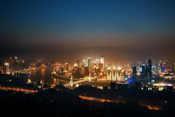 Photograph - Chongqing Urban Buildings Night by Songquan Deng