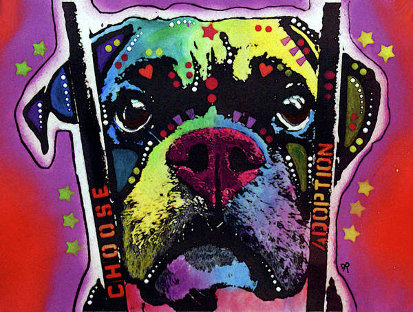 Boxer Painting - Choose Adoption Boxer II by Dean Russo Art