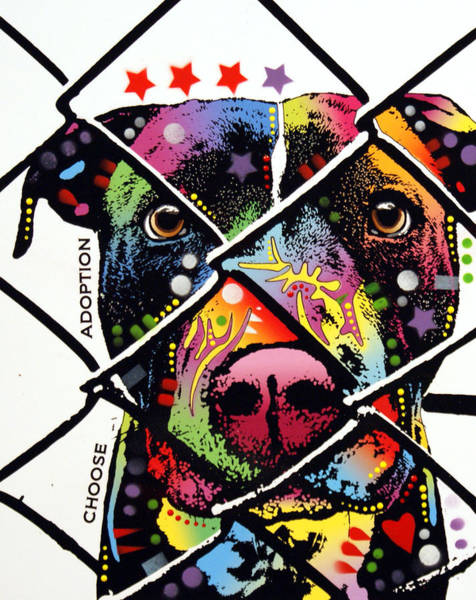 Dog Painting - Choose Adoption Pit Bull by Dean Russo Art