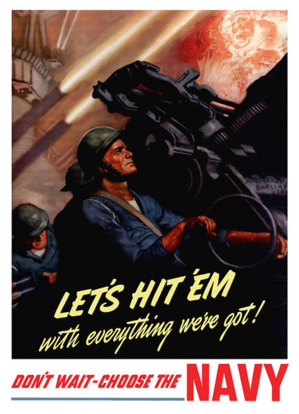 Us Wall Art - Painting - Choose The Navy -- Ww2 by War Is Hell Store